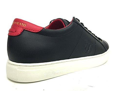 Uomo Trussardi jeans scarpe pelle di vitello nere rosse