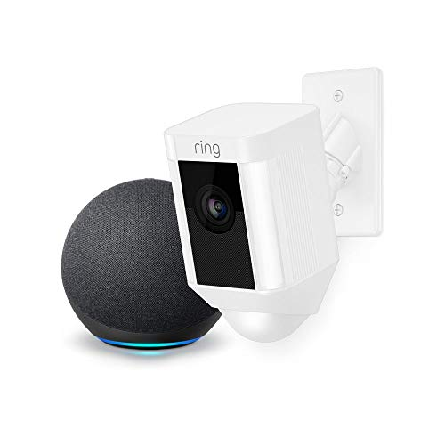 Ring Spotlight Cam Mount Cámara de seguridad HD (blanca) y Echo Dot (4.a generación)