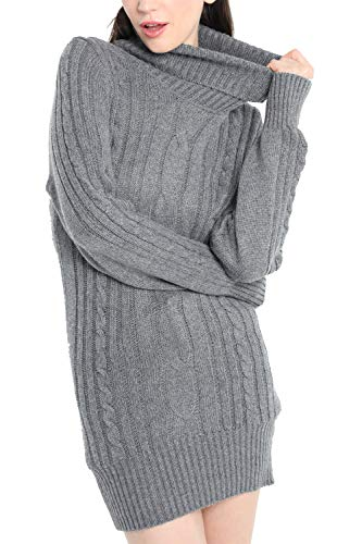 Cashmere Dress Womens (Liny Xin Women's Cashmere Knitted Turtleneck Long Sleeve Winter Wool Pullover Long Sweater Dresses Tops (M, Grey))