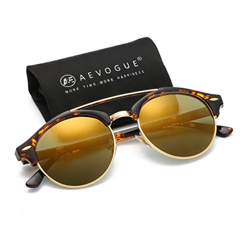 AEVOGUE Polarized Sunglasses Mens Semi-Rimless Retro Unisex Glasses AE0504 (Tortoise&Gold, - Sunglasses Are Cool