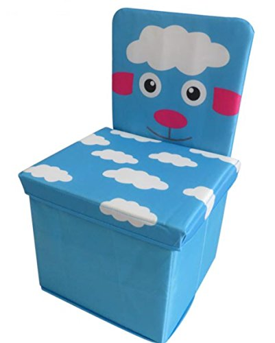 Kids Chair, Toys Storage Organizer Foldable Box With Lid, Stool By Oasiz Toys – Durable 30x30x50 Construction (Blue Sheep Design)