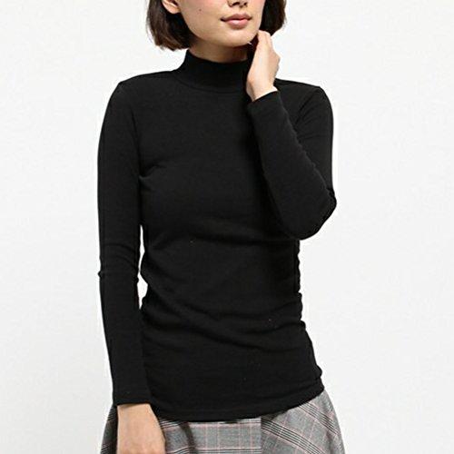 Unica Maglia A In Collo colore Dimensione shirt Nero Nero Taglia E Basic Cotone T Donna Da Maniche Alto Lunghe Yingsssq UnwqAY1xdU