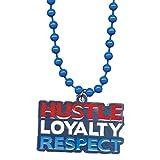 WWE John Cena Hustle, Loyalty, Respect Red White & Blue Pendant (Blue Beads)