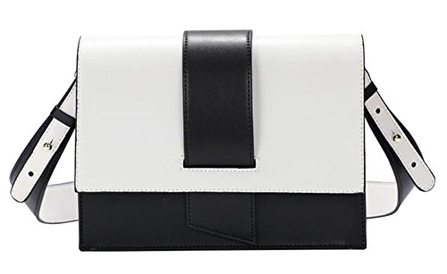 Mini Real Crossbody Color Women Clutch Contrast White2 Bags FairyBridal Leather for 3 Colors qfwOI8Ex
