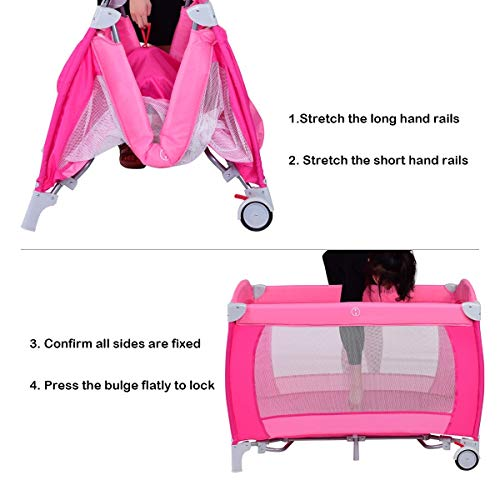 LHONE Portable Foldable Travel Baby Crib Playpen Baby 3 in One Crib Playpen Travel Playpen Changer w/Mosquito Net and Carring Bag (Pink) by LHONE (Image #4)