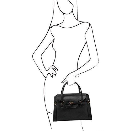main Tuscany Leather Noir en TL à Noir twist cuir avec NeoClassic Sac fermoir XfFBwfq