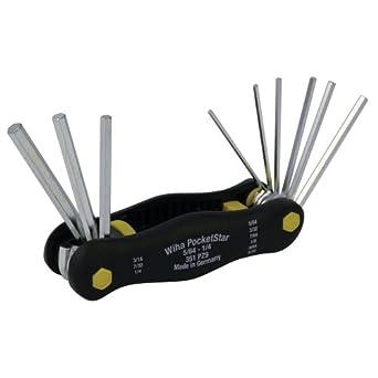 8497a3d6e2c Wiha 35197 Inch Pocket Star Fold Up Key Set with Large Ergo Handle ...