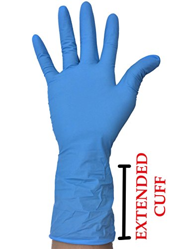 Nitrile Exam Gloves - Medical Grade, Powder Latex Rubber Free, Disposable, Non-Sterile, Food Safe, Textured, Blue Color, Convenient Dispenser Sensitive Skin - Robust Plus (EXTENDED CUFF) Size (LARGE) (Best Rubber Gloves For Sensitive Skin)
