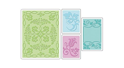 Sizzix Textured Impressions Embossing Folders, 4-Pack, Ornate Flowers & Frame