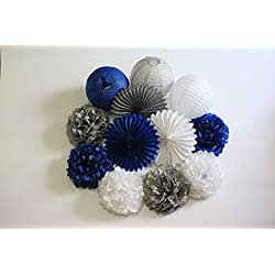 12pcs Mixed Navy Blue, White, Grey Tissue Paper Flowers Pom Poms Paper Lanterns and Paper Fan Party Boy Girl Decorations for Wedding Bridal Shower First Birthday Decorations