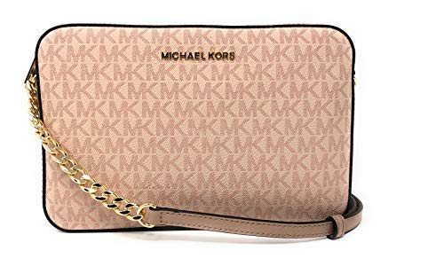 Michael Kors Jet Set Item Signature PVC Large East West Crossbody Bag in Fawn/Ballet