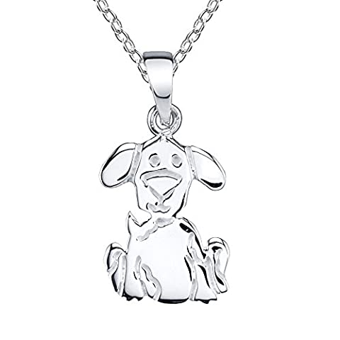 Sterling Silver Puppy Dog Charm Pendant Necklace Pet Lover with chain, Gift for Women Teens Girls (Sterling Silver Charns)