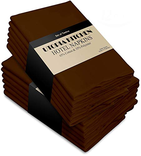 Brown Napkins Chocolate Dinner - Utopia Kitchen Cloth Napkins (18 inches x 18 inches) - 12 Pack Soft and Comfortable Cotton Dinner Napkins