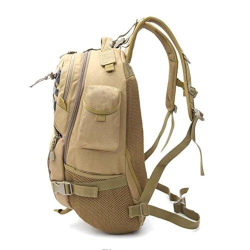 Mochila Camuflaje de alta capacidad Paquete táctico Caminata camping Escalada Mochila al aire libre , khaki Black