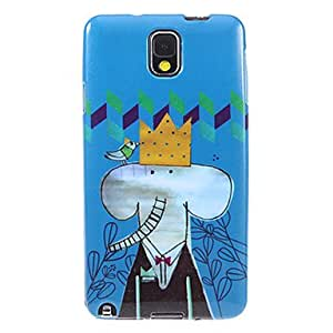 Shimmering Ground Cartoon Elephant Pattern Plastic Soft Protective Back Case Cover for Samsung Galaxy Note3 N9000