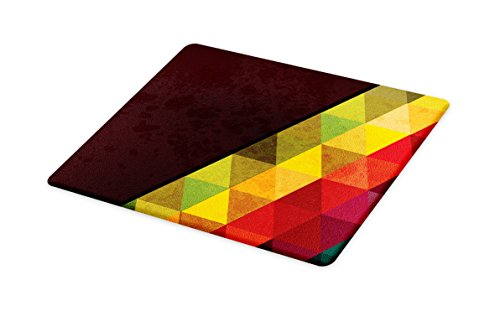 Lunarable Abstract Cutting Board, Geometrical Triangular Polygons with Aged Grungy Look Stained Glass Style Mosaic, Decorative Tempered Glass Cutting and Serving Board, Small Size, ()