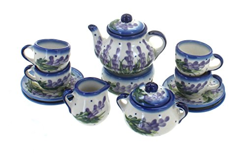 (Blue Rose Polish Pottery Lavender Fields Miniature Tea Set)