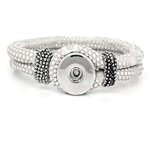 SEXY SPARKLES Chunk Bracelets Fits Snaps Chunk Buttons (White -