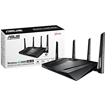 ASUS CM-32 Cable Modem Wifi Router (AC2600, 32x8) DOCSIS 3.0 with dual USB 2.0, Certified for use on Comcast Xfinity and Spectrum