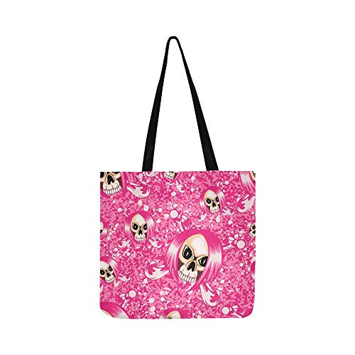Vector Illustration Cartoon Pink Emo Girl Skull Wi Canvas Tote Handbag Shoulder Bag Crossbody Bags Purses For Men And Women Shopping Tote