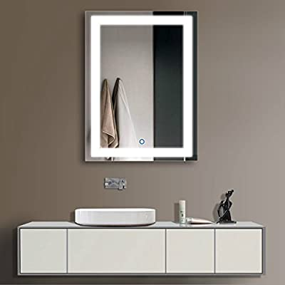 """DP Home 24"""" LED Lighted Illuminated Bathroom Vanity Wall Mirror with Touch Sensor, Vertical Rectangle White Mirrors 24 x 32 in E-CK010"""