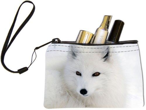 Rikki KnightTM White Arctic Fox Close-Up Design Keys Coins Cards Cosmetic Mini Clutch Wristlet