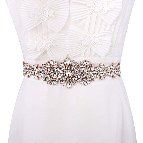 XINFANGXIU Rose Gold Rhinestone Bridal Wedding Dress Sash Belt Applique with Crystals Handcrafted Sparkle Elegant Thin Sewn or Hot Fix for Women Gown Prom Formal Clothes (Silk Belt Beaded)