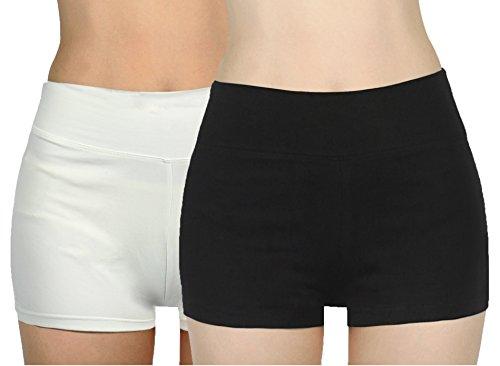 iLoveSIA Pantalones de yoga y gimnasio pantalones cortos para mujer 2Paquetes(Negro + Blanco)