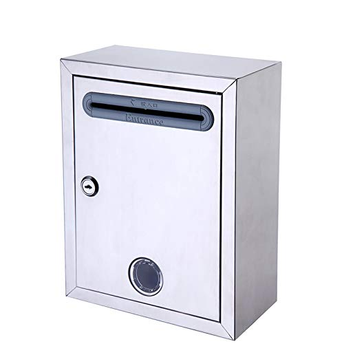 Fly Thickened Small Stainless Steel Suggestion Box Wall with Lock Wall-Mounted Waterproof Letter Box Complaint Box Report Box Letter Box Mailbox