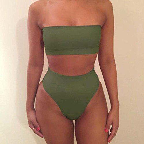 Mujeres en Bikini, Ularma Mujeres vendaje bikini push-up Bra traje de baño baño 2pcs set de baño Verde del ejército