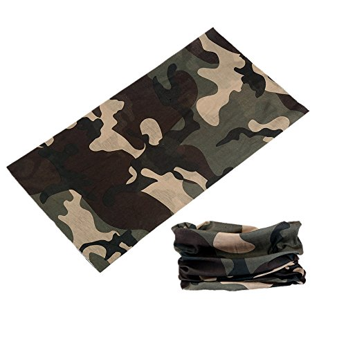 Wujia 2pcs Camo Multifunction Seamless Bandana Headband,Outdoor Sport Cycling Cap (camouflage pattern -