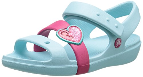 Crocs Kids' Keeley Springtime Sandal (Toddler/Little Kid), Ice Blue/Raspberry, 7 M US Toddler by Crocs