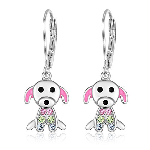 Sterling Silver Enamel Earring (Kids Earrings - 925 Sterling Silver with a White Gold Tone Pink Enamel and Crystal Dog Leverback Earrings MADE WITH SWAROVSKI ELEMENTS Kids, Children, Girls,)