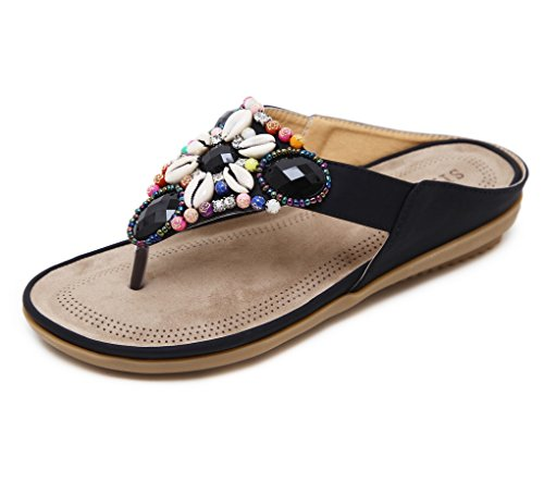 Ayuda Liangxie Flecos Summer Zhhzz Para Perlas Planas Beach Sandalias Bajo Zapatillas Nivel Negro De Ducha Mujer wHwOz