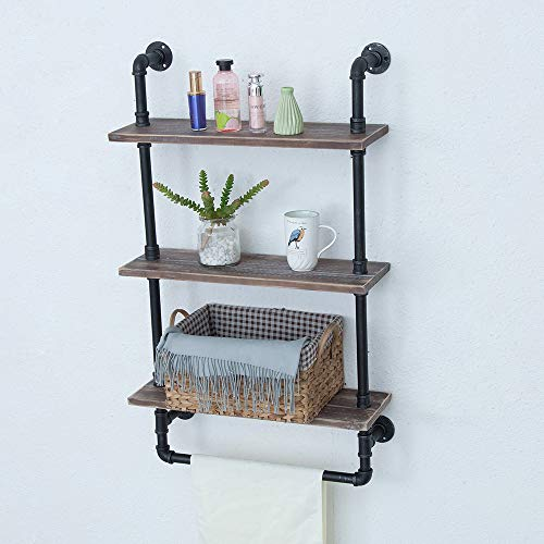 Industrial Bathroom Shelves Wall Mounted 3 Tiered,Rustic 24in Pipe Shelving Wood Shelf With Towel Bar,Black Farmhouse Towel Rack,Metal Floating Shelves Towel Holder,Iron Distressed Shelf Over Toilet by GWH (Image #5)