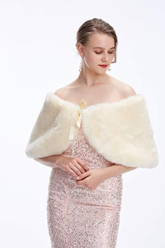 Fur Sleeveless - Decahome Sleeveless Faux Fur Shawl Wedding Fur Wraps and Shawls Bridal Fur Stole for Brides and Bridesmaids Whte Fox Fur