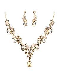 BriLove Women's Wedding Bridal Crystal Teardrop Filigree Leaf Twig Statement Necklace Dangle Earrings Set