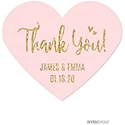 Andaz Press Blush Pink Gold Glitter Print Wedding Collection, Personalized Mini Heart Label Stickers, Thank You, 75-Pack, Custom Name