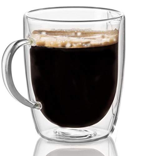 Cooko Cristal Vidrio de Cafe de Doble Pared, Tazas de Cafe Resistentes al Calor, Alta Tazas Borosilicato con Mango Para Te, Latte, Leche, Cappuccino, Jugo,350ml Juego de 1