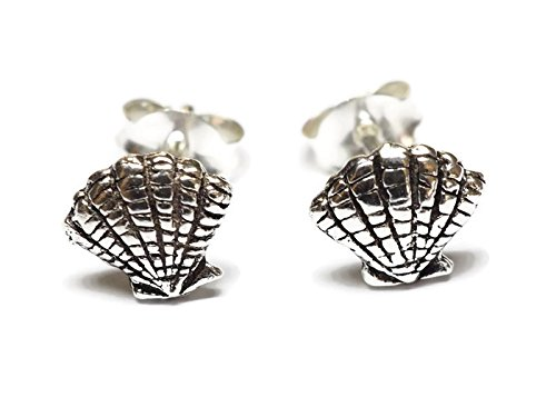 Seashell Post (925 Sterling Silver Earring Cartilage For Women Ear Stud Helix Seashell 1/4
