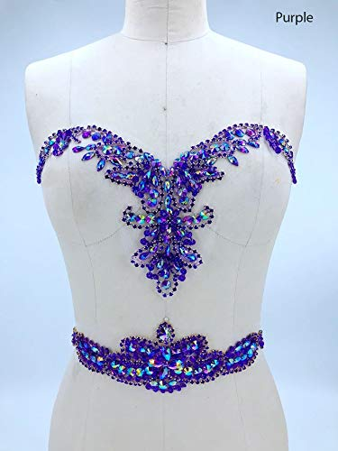 Rhinestone Applique with Crystal Trim 3D lace Patches Great for DIY Neckline Bodice Belt Wedding Bridal Prom Dress A3 (Purple)