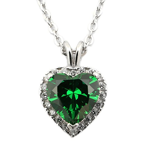 Emerald heart necklace amazon sterling silver may birthstone simulated emerald cz heart halo pendant necklace 16 aloadofball