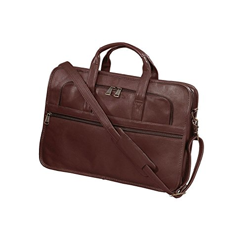 Winn International Leather Slim Briefcase with No. 9 Heavy Duty Zippers in Brown