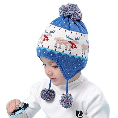 Earflap Pom Hat Cap - Connectyle Boys Girls Knit Kids Hat Cotton Earflap Beanie Hat Warm Winter Beanies Skull Cap with Pom Blue