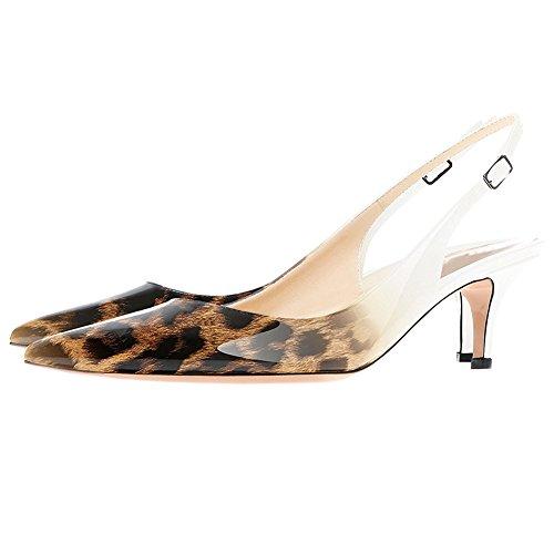 Heels Kitten MERUMOTE Leopard Gradient Schuhe Frauen Sandalen White Daily Walk Slingbacks Sumer qwwUI17