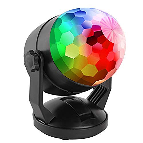 ENUOLI Sound Activated Party Lights for Outdoor Indoor Battery Powered/USB Plug In Portable 7 Color RBG Rotating Disco Ball Strobe Lamp Stage Par Light for Car Room Xmas Birthday DJ -