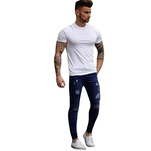 Clearance! ❤️ Men's Skinny Jeans, Neartime Stretchy Ripped Biker Trousers Taped Slim Fit Denim Pants Hole Streetwear Casual Slacks (❤️Asian4XL, Dark - Street Dark Pants