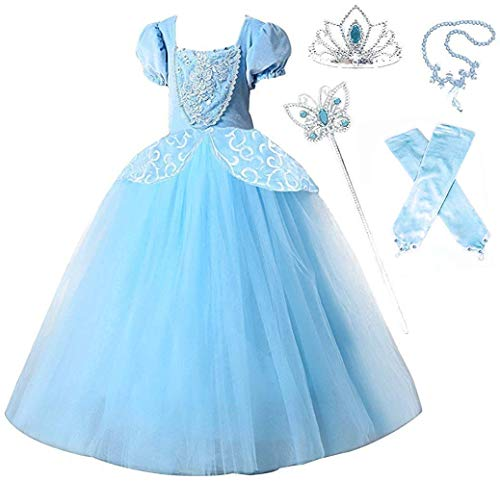 Romy's Collection Princess Cinderella Special Edition Blue Party Deluxe Costume Dress-Up Set (Blue, 9-10) -