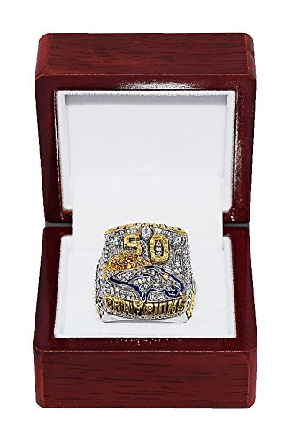 Broncos Autograph - DENVER BRONCOS (Von Miller) 2015 SUPER BOWL 50 WORLD CHAMPIONS (The Ones for Pat) Rare & Collectible High-Quality Replica NFL Football Gold Championship Ring with Cherrywood Display Box