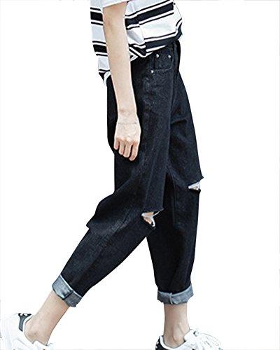 Noir Pants Trou Denim Slim Pantalons Skinny Dchirs Boyfriend Crayon Femme Jeans qzxnwvBXt1